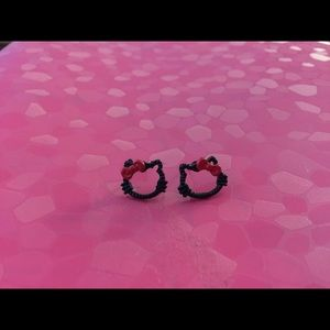 Jewelry - New Black n Red Profile Hello Kitty Earrings